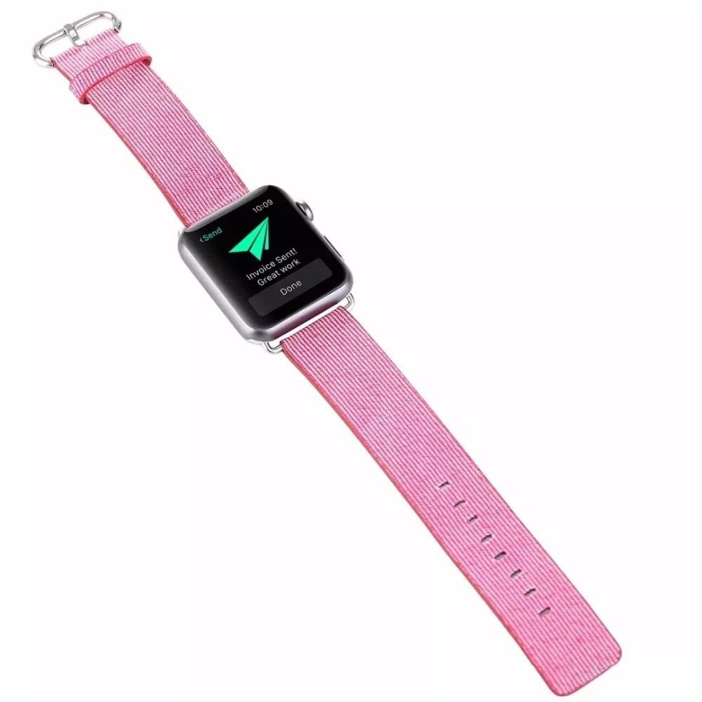 7220cb744f4 pulseira apple watch 42mm nylon tecido rosa com adaptador. Carregando zoom.