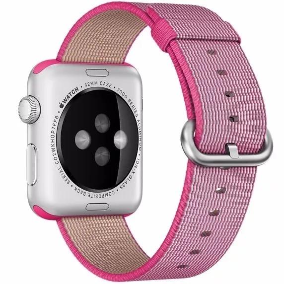 ecdd014419a Pulseira Apple Watch 42mm Nylon Tecido Rosa Com Adaptador - R  85