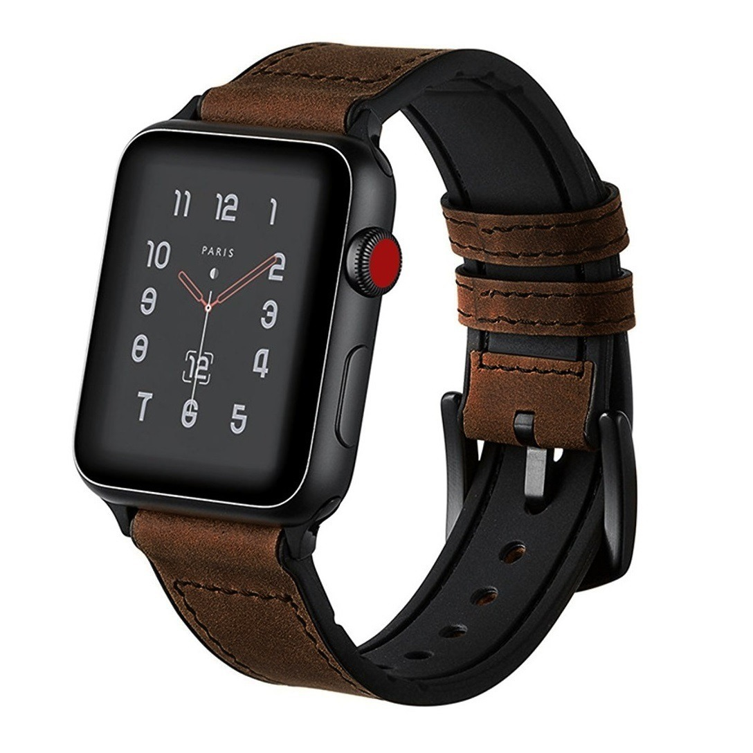 5c4e1e37735 pulseira apple watch híbrida couro e silicone 42mm + case. Carregando zoom.