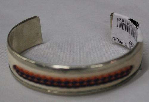 pulseira argentina de alpaca c/couro-cod 29