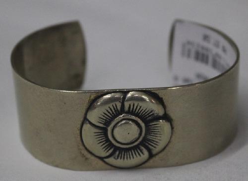 pulseira argentina de alpaca larga-mod flor