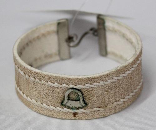 pulseira argentina de alpaca/couro larga-cod 19