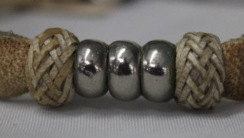pulseira argentina de metal/couro-cod 28