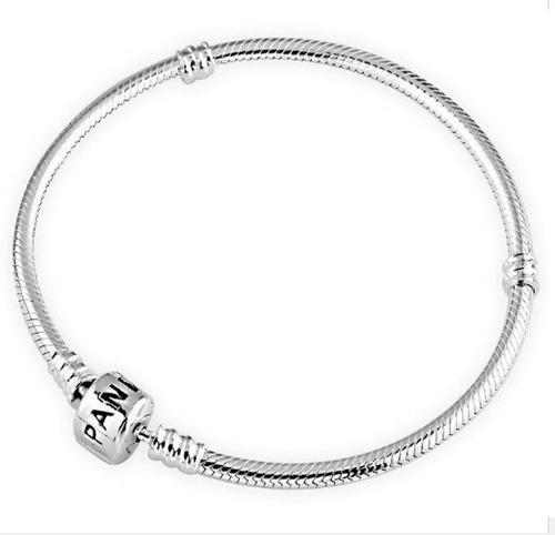 pulseira b/ prata para berloque vivara & pandora + trava