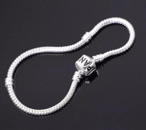 pulseira b/ prata para berloques vivara & pandora