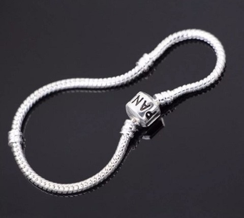 pulseira b/ prata para berloques vivara & pandora + trava