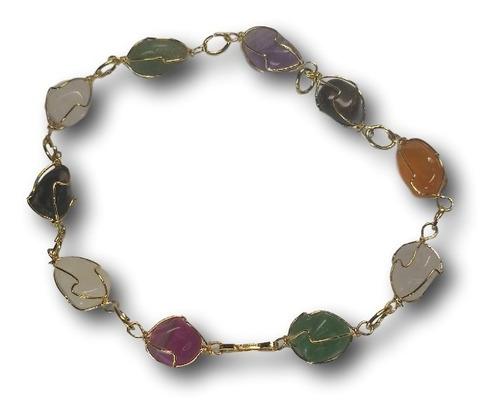 pulseira banhada a ouro com pedras naturais  ref: 9417