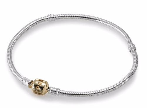 pulseira banhada a prata fecho ouro estilo pandora e life