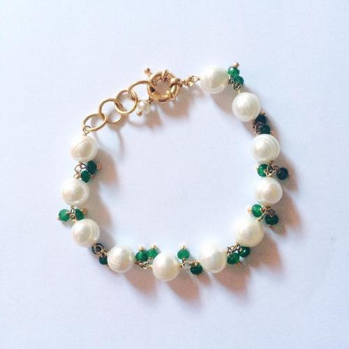 pulseira banhada ouro 18k perolas e cristais green 20cm r05