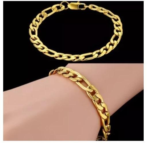 Pulseira Banhado Ouro 18k Elos Luxo Masculina - R  66,89 em Mercado ... 7642589c00