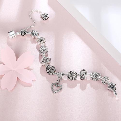pulseira berloque banhada prata estilo pandora/vivara ps3743