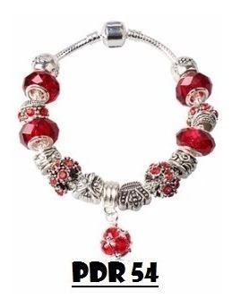 pulseira berloque completa vermelha pandora prata 925