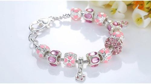 pulseira berloques banhada em prata estilo vivara pandora