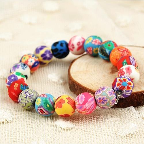 pulseira boho 16 bolinhas coloridas feminina linda delicada