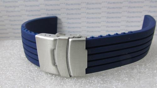 pulseira  borracha, deployant  18mm. azul seiko. ref. 59
