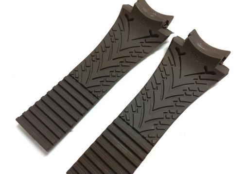 pulseira borracha para relógios porsche design p6620 marrom