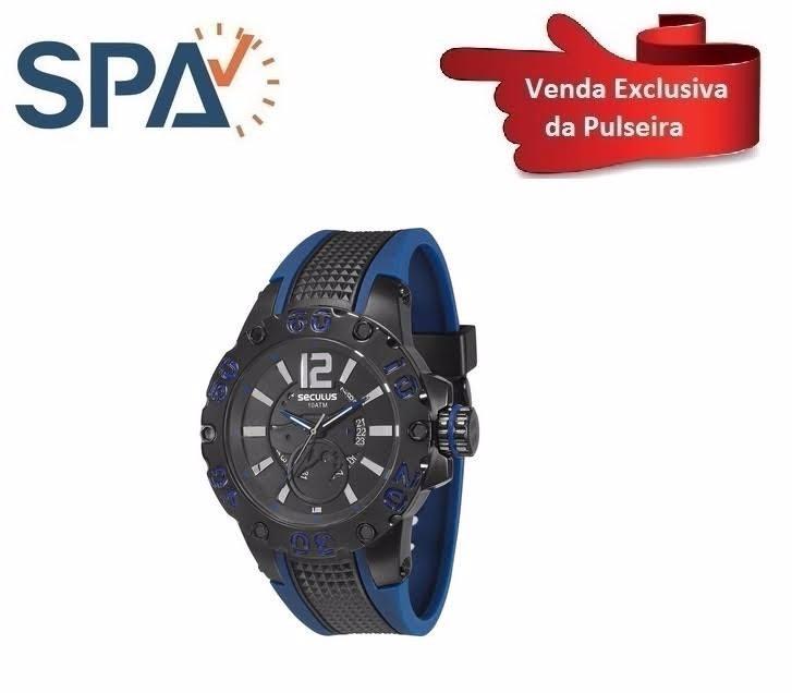 5370f10d652 Pulseira Borracha Relógio Seculus 20105gpsspu3 - R  119