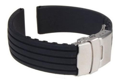 pulseira borracha silicone preta 20mm c/ fecho deployant