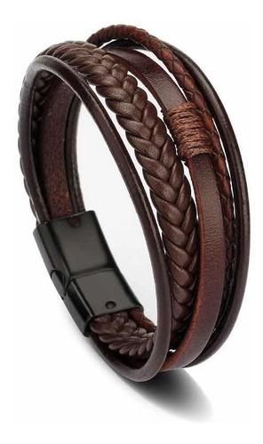 pulseira bracelete 5 em 1 preto barato aço + couro promoção