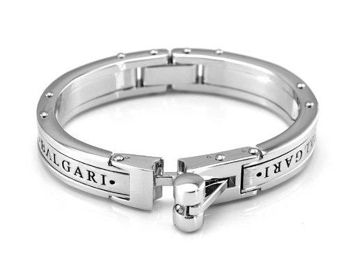 7bbe09fd7a7 Pulseira Bracelete Algema Masculino Bulgari Banhada O Branco - R ...