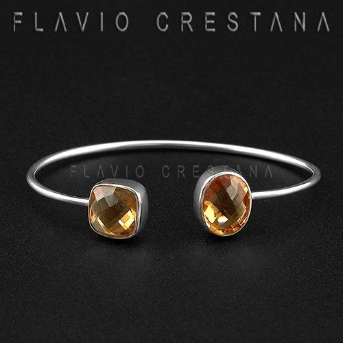 pulseira bracelete citrino natural, prata 925. india - 41901