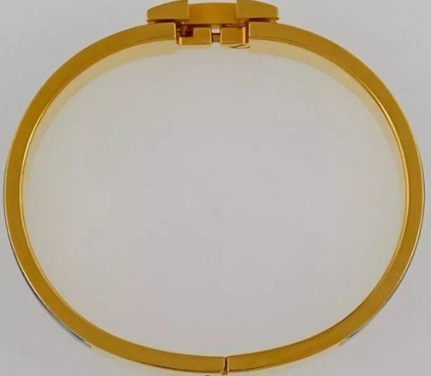21a60c8f8b1 Pulseira Bracelete Clic Clac Enamel Hermes Azul Dourada Luxo - R ...