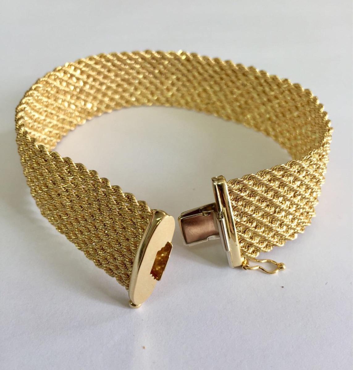 ae6924a91a3de Pulseira Bracelete Corda Feminino Largo Ouro 18k 750 - R  4.450,00 ...