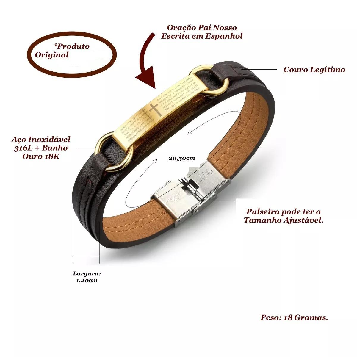 cbf56c280 pulseira bracelete masculino couro oração pai nosso · pulseira bracelete  couro. Carregando zoom.