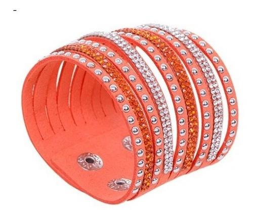 pulseira bracelete couro cristais slake brilho strass