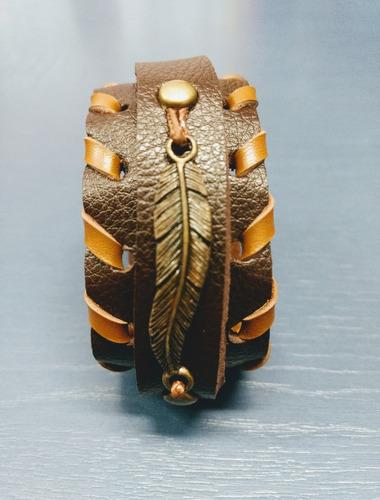 pulseira bracelete couro masculina feminina ajustavel