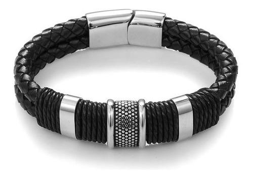 pulseira bracelete de couro genuino masculino preto prata encaixe de aço inoxidável acessório original