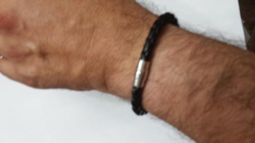 pulseira bracelete de couro preto