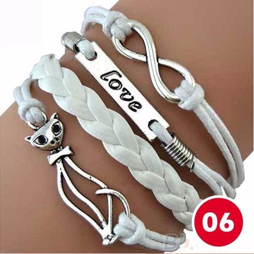 pulseira bracelete de couro unissex vários modelos