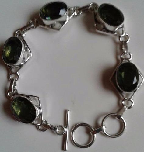 pulseira bracelete de prata 925 indiana pedras obsidiana