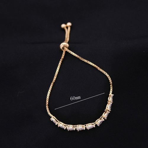 pulseira bracelete dourada com zircônia noiva debutante gota