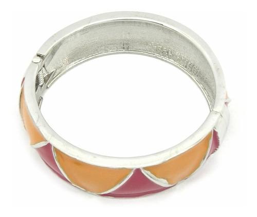 pulseira bracelete esmaltada na cor rosa e laranja