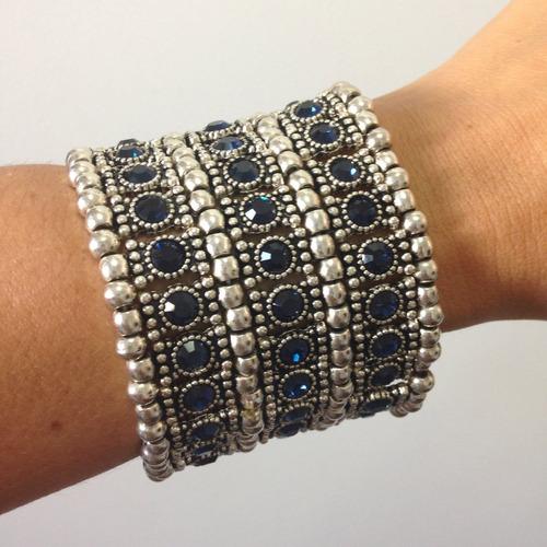 pulseira bracelete estilo boho prata com zirconias azuis