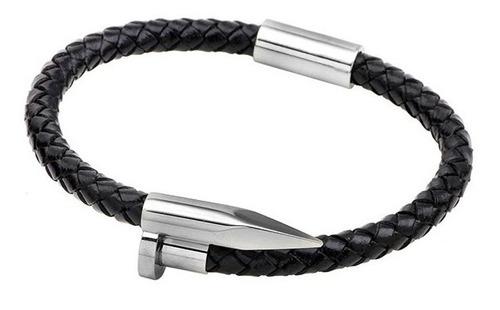 pulseira bracelete estilo prego de couro