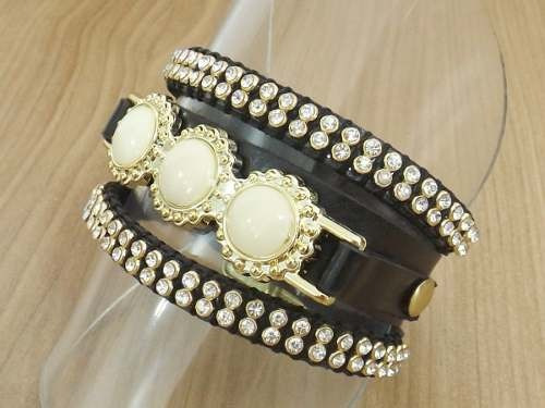 pulseira bracelete feminina couro