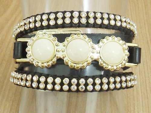 pulseira bracelete feminina couro e pedra sintética strass