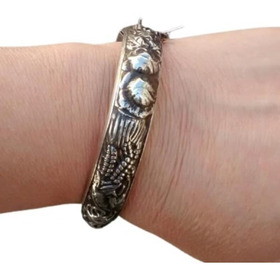 Pulseira Bracelete Feminina Prata 925 Rosas Grandes