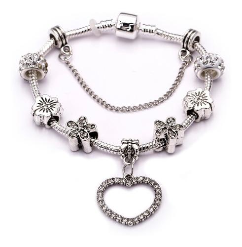 pulseira bracelete feminino aço inox j-162 estilo pandora