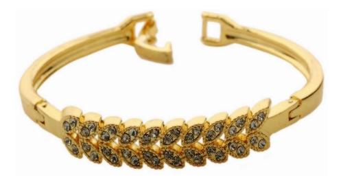 pulseira bracelete folhas douradas strass dama