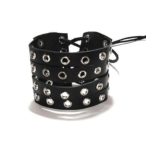 pulseira bracelete ilhoses cordão rock preto metal emo moto