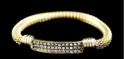 pulseira, bracelete italiano dourado com strass