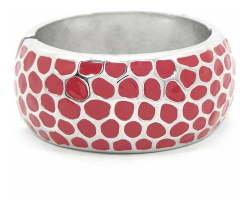 pulseira bracelete larga vermelha com detalhe prateado
