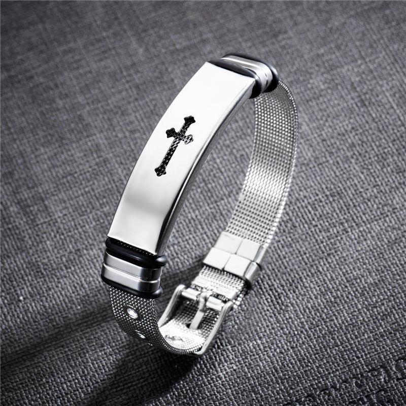 pulseira bracelete masculina banhada ouro 18k cruz aço inox. Carregando  zoom. 20838b8902