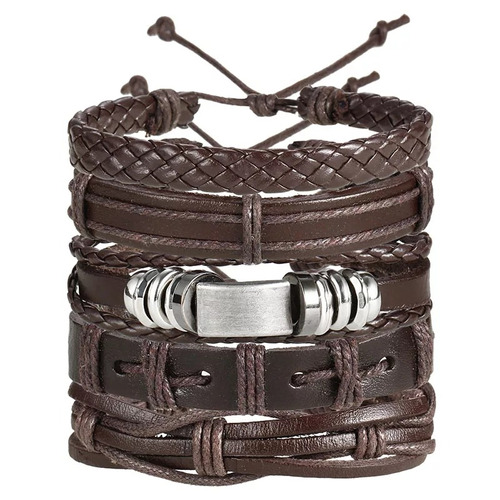 pulseira bracelete masculina couro