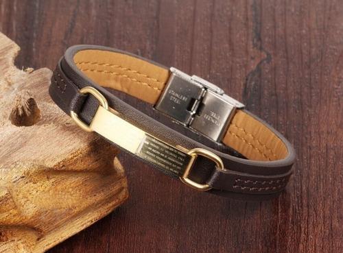 pulseira bracelete masculina couro + banhada a  ouro 18k