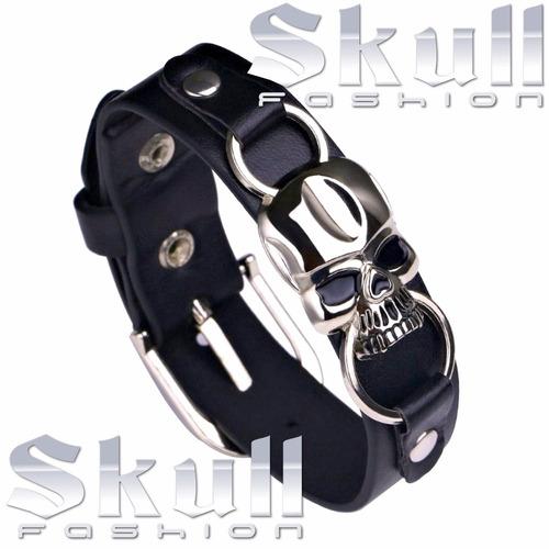pulseira bracelete masculina couro ecologico linha rock